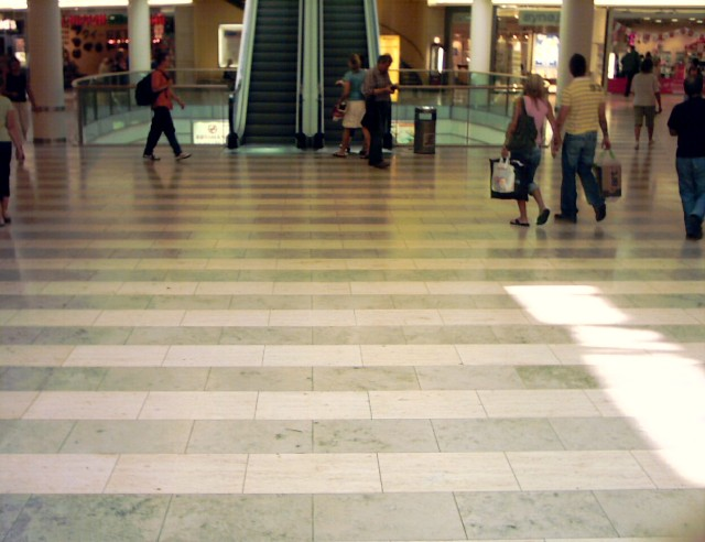 the floor in a shopping mall