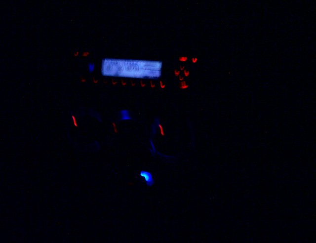 a car radio in the dark